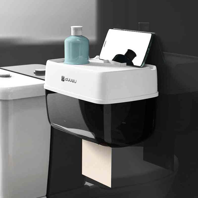 Bathroom Toilet Roll Paper Holder Wall Mount Plastic Bathroom Paper Phone Holder With Storage Shelf Rack Paper Storage Box