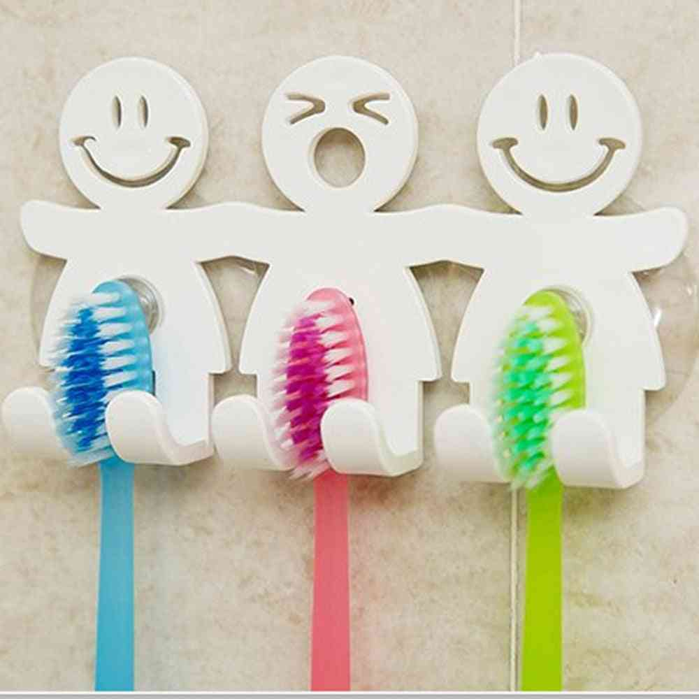 Fun Smile Face Bathroom Kitchen Toothbrush Towel Holder Wall Sucker Hook Cup Stand Toothbrush & Toothpaste Holders