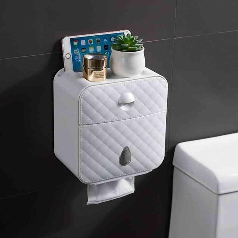Multifunctional Toilet Paper Waterproof Wall Mounted Toilet Paper Box, Toilet Paper Holder Toilet Paper Storage Box