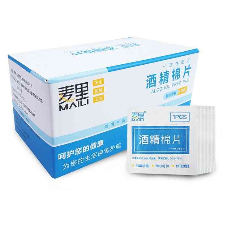 100pcs Alcohol Swabs Wet Wipes - 70% Isopropyl, First Aid Home Skin Cleanser