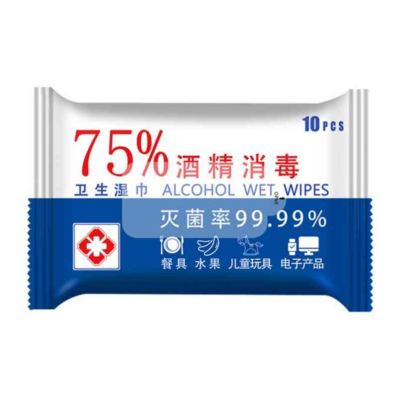Portable 75% Alcohol Wet Wipes For Disinfection - Household Hand Cleaning