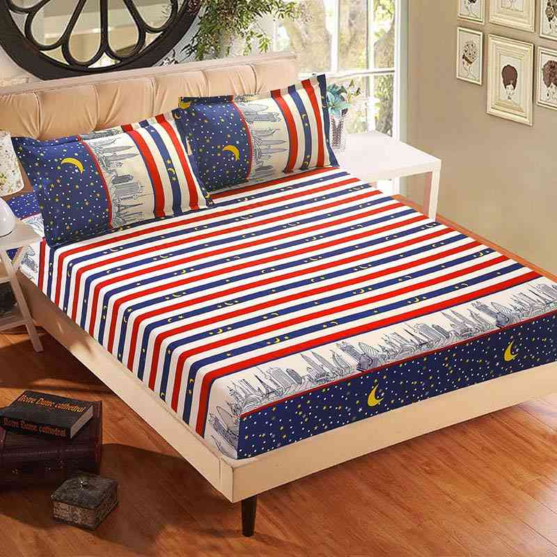Simple Modern Printed Bed Linen Fitted Sheet And Pillowcase Sets