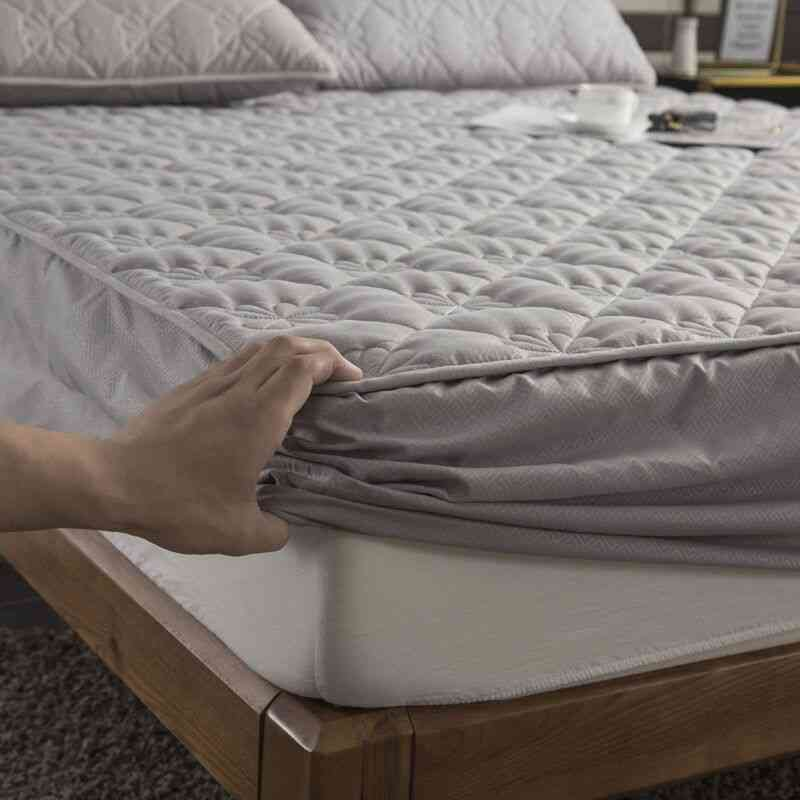 Thicken Quilted Anti Bacteria Mattress Cover - King, Queen Size Quilted Bed Fitted Sheet Topper Air Permeable Bed Pad