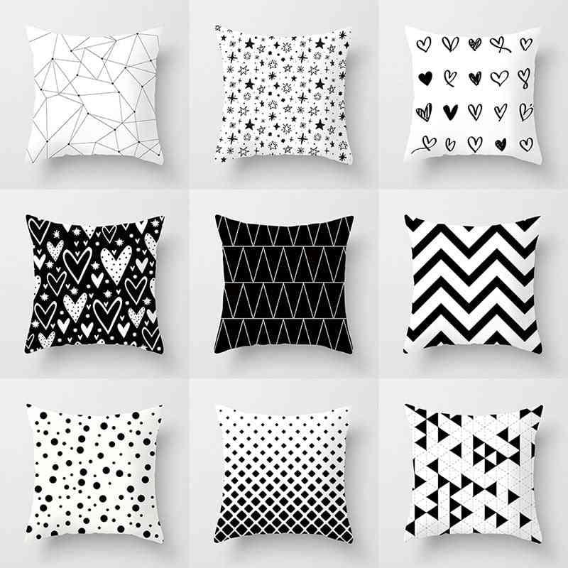 Black And White Geometric Polyester Decorative Throw Pillowcases