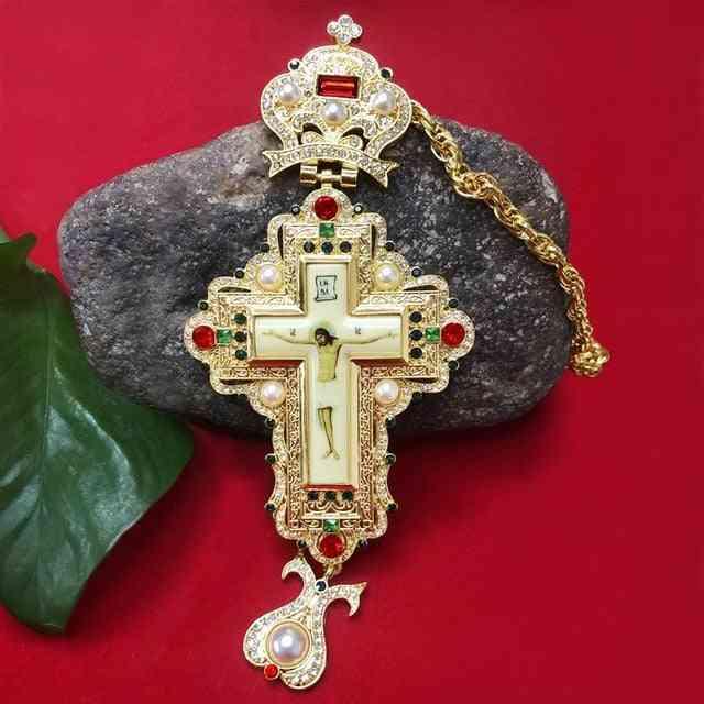 High Quality Pectoral Cross Orthodox Jesus Crucifix Rhinestone Pendant