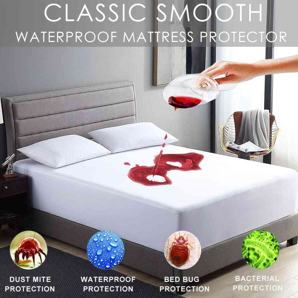 Waterproof And Stain Resistant Mattress Protector Bed Bug Proof Washable Hypoallergenic Mattress Cover
