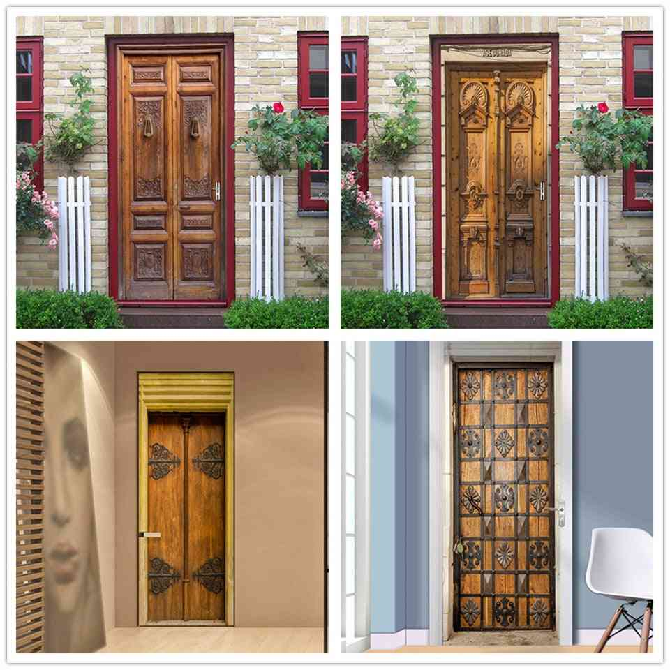 Stylish Vintage And Modern Design Self Adhesive Waterproof Removable Door Sticker
