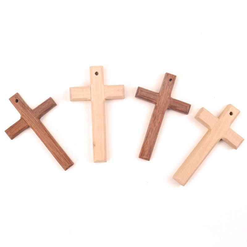 Home Decor Handmade Natural Wooden Christian Cross Pattern Ornament 80x50mm - Diy Scrapbooking Craft