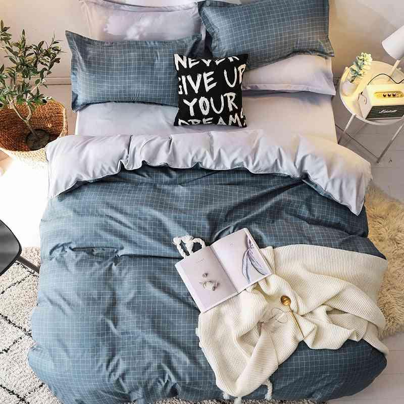 Classic Soft Cotton Duvet Cover, Flat Sheet And Pillowcase Bedding Set