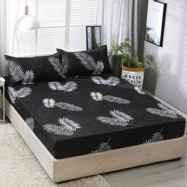 Geometric Printed Fitted Sheet Elastic Bed Linen Polyester Mattress Cover With Pillowcase