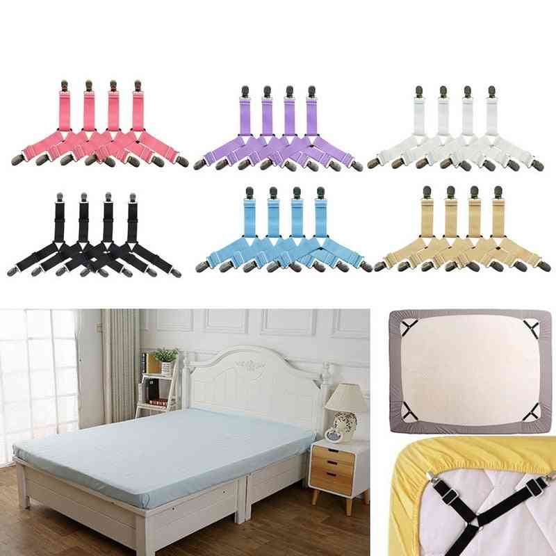 Heavy Duty Adjustable Elastic Bed Sheet Clips Suspenders Straps For Home Bed Sheet