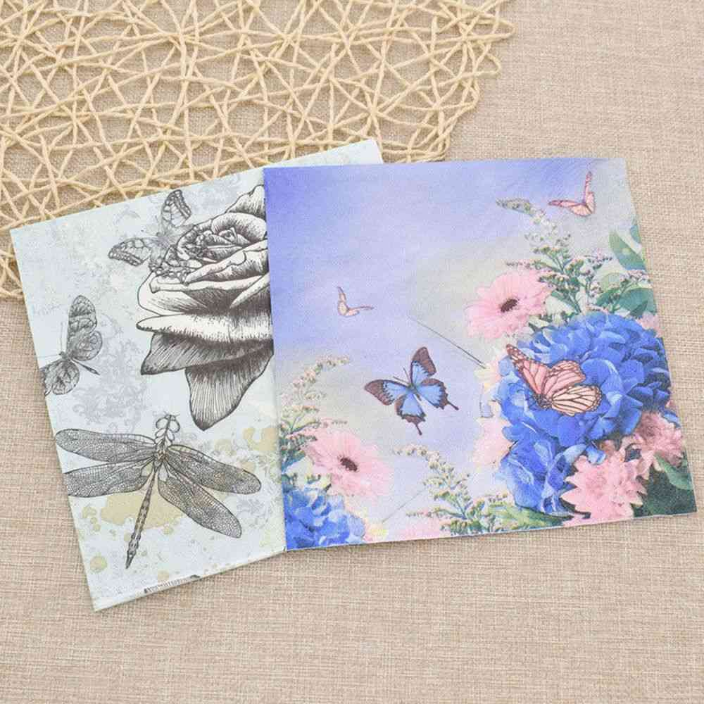 Butterfly And Rose Printed Paper Napkin Tissue