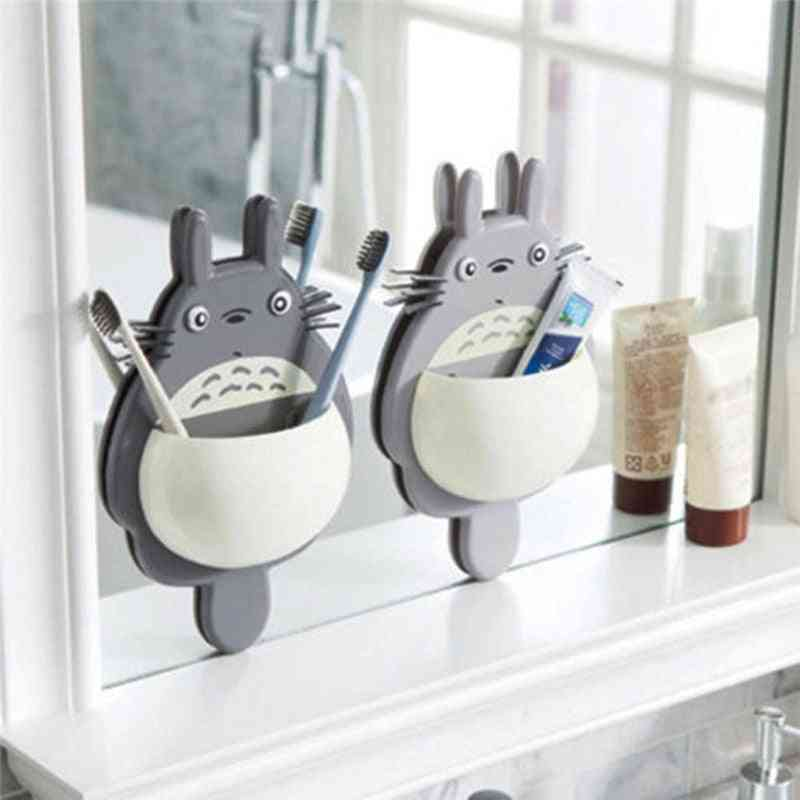 Cute Totoro Design, Wall Mount Toothbrush And Toothpaste Holder