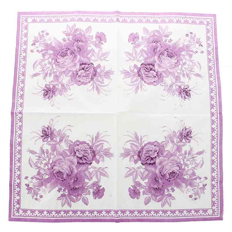Square Shape, Flower Printed Paper Napkins & Serviettes For Party, Wedding And Family Gatherings