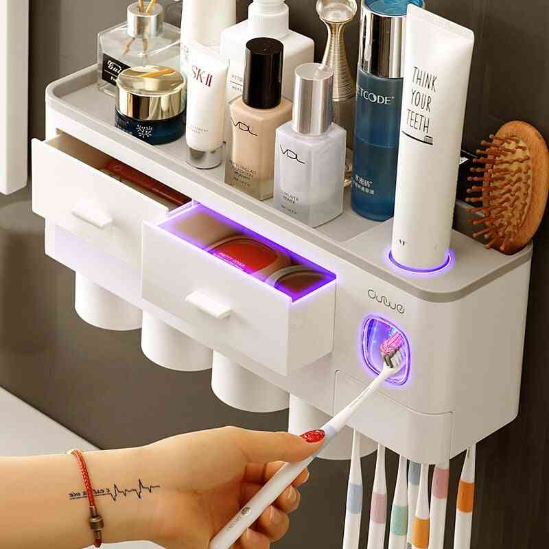 Automatic Wall Mount Toothpaste Dispenser, Toothbrush Holder With Cup