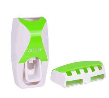 Wall Mount Automatic Toothpaste Dispenser, Brush Holder And Storage Rack