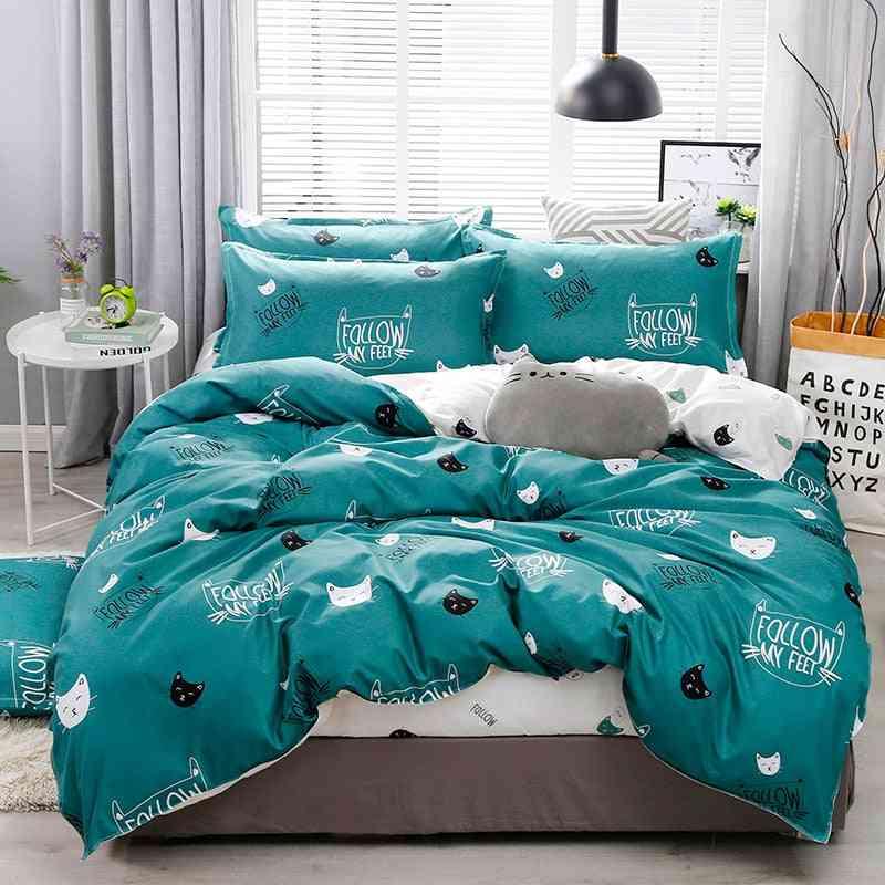 Children's Cartoon Print Bed Linen Duvet Cover Bed Sheet And Pillowcase Bedding Sets