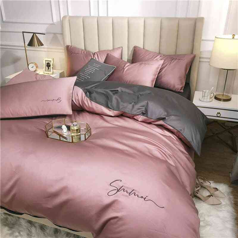 Egyptian Solid Color Embroidery Long-staple Cotton Bedding Set