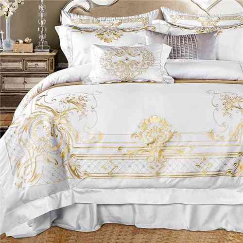 Chic White Egyptian Super Soft Cotton Golden Embroidery Bedding Set