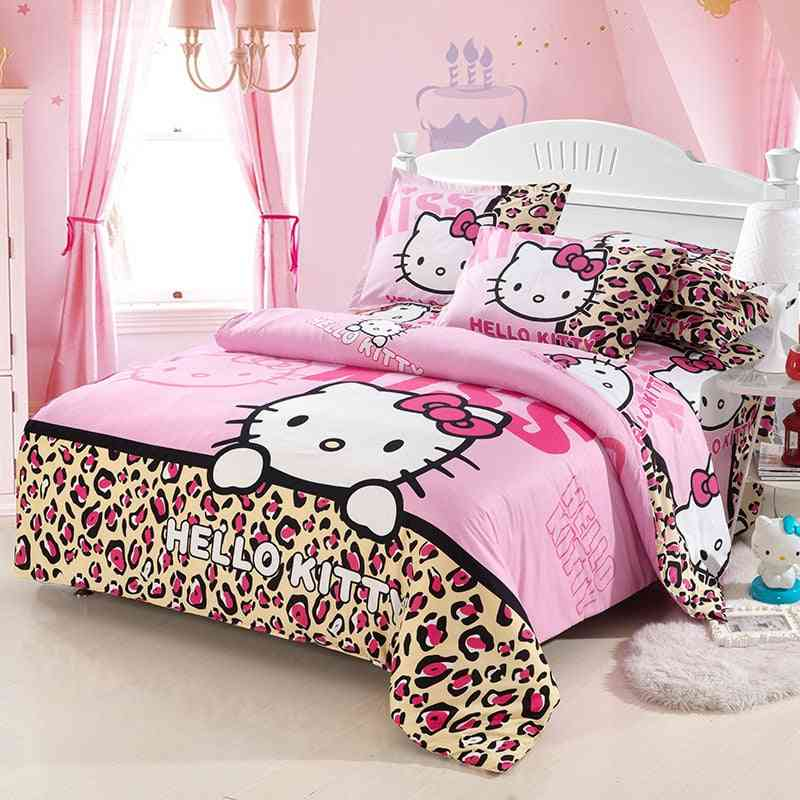 Hello Kitty Cotton Bedding Set - Include Duvet Cover, Bed Sheet & Pillowcase