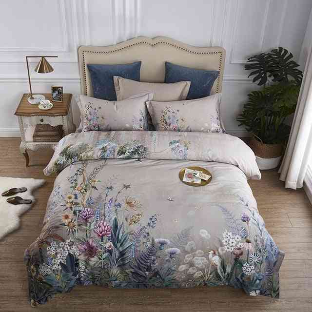 Birds And Flowers Leaf Gray Shabby Egyptian Cotton Bedding Set
