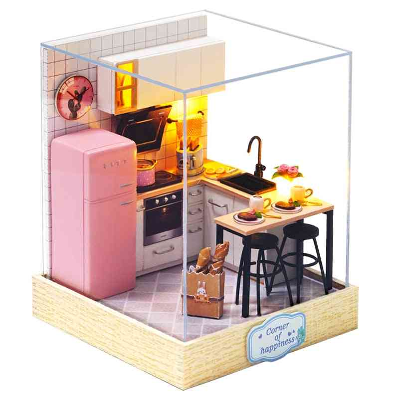 Furniture Miniature Wooden Miniaturas Doll House Box Theatr For Birthday