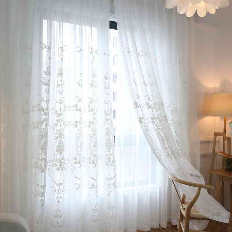 High-grade Home Decor White Embroidery Flower Screens European Style Voile Tulle Sheer Curtain