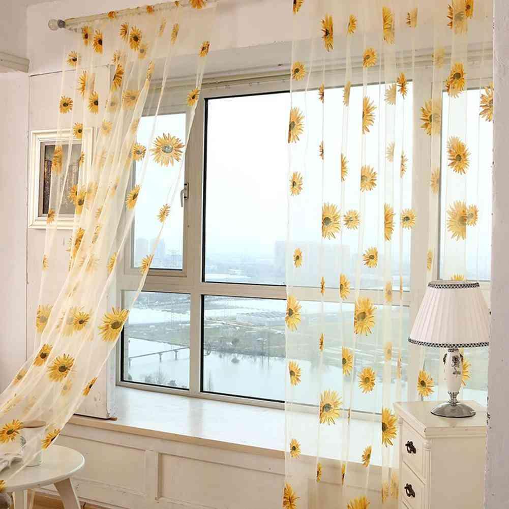 Sunflower Sheer Tulle Window Interior Curtain - Valance Door Room Divider Drape Decoration Curtain