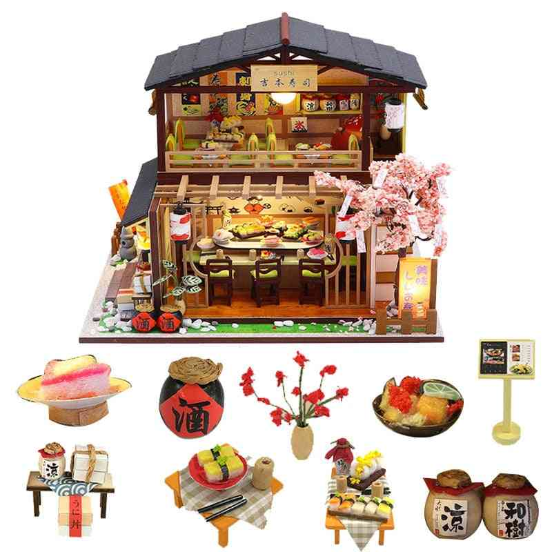 Wooden House Japan Style Miniature Doll House Kits With Furniture Precised Design Dollhouse For Decoration