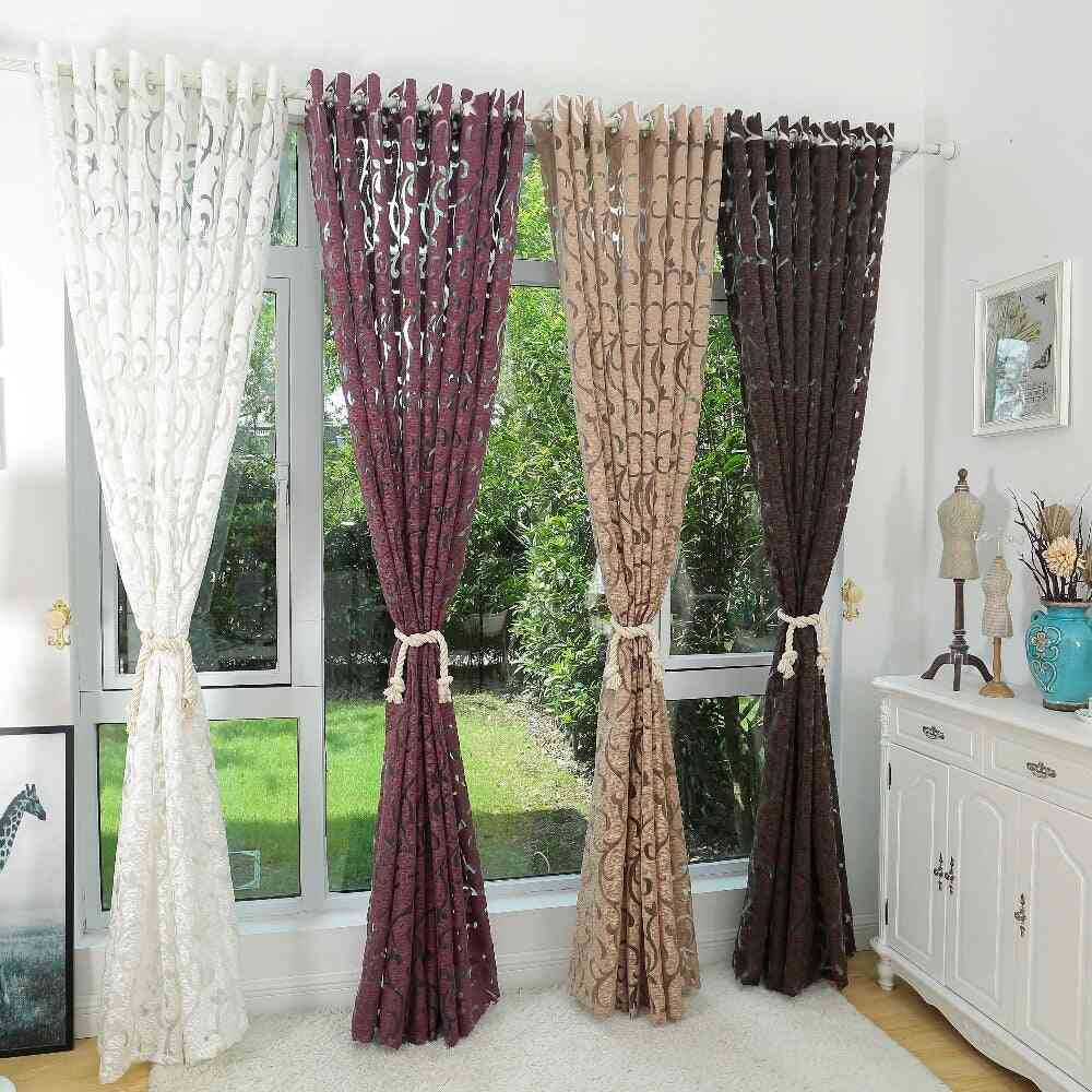 Luxury Fashion Jacquard Fabric Semi Blackout Decorative Window Curtain