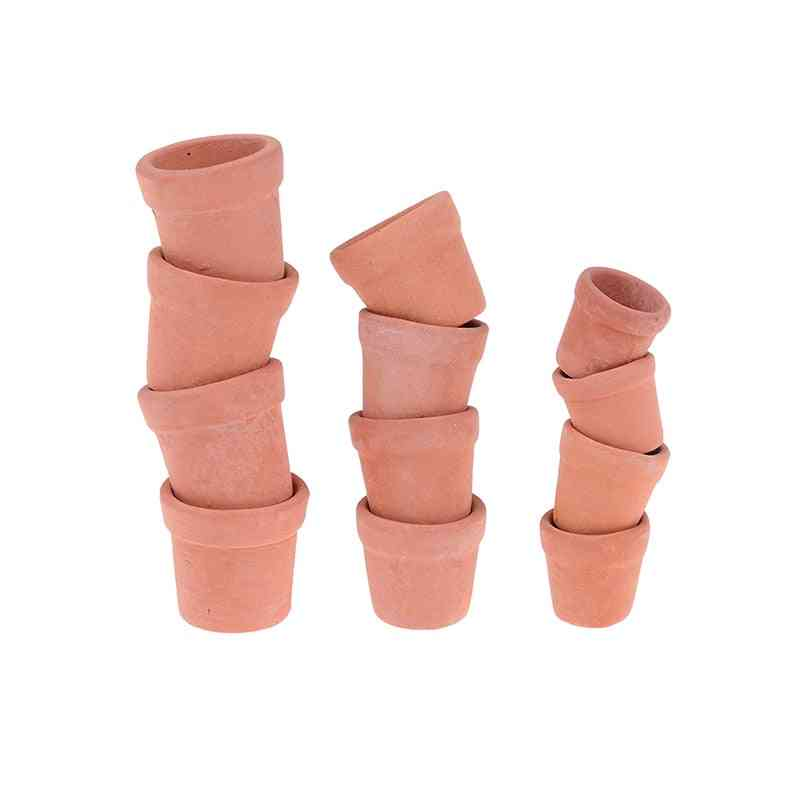 Mini Red Clay Flowerpot Simulation Garden Flower Pot Model Toy For 1/12 Dollhouse Miniature Accessories