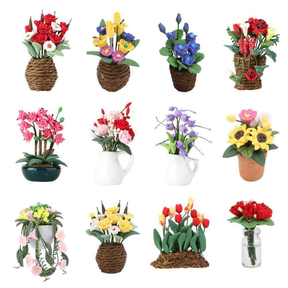 1:12 Doll House Miniature Flowers Fairy Garden Ornament Mini Potted Plant Flowers Pot For Decor Kids Play Toy
