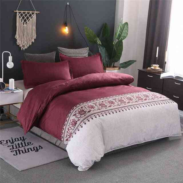 Simple Luxury Jacquard Floral Printed Bed Linen Duvet Cover Set