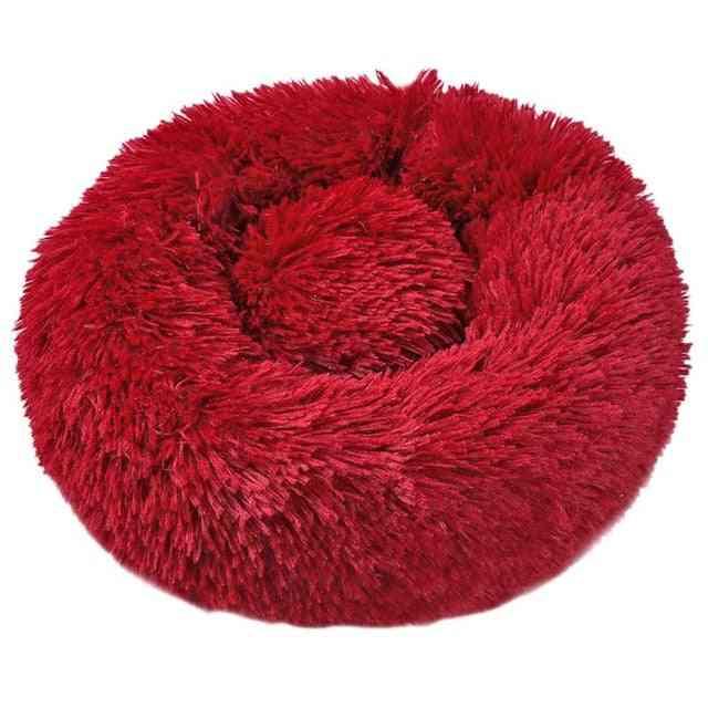 Washable Soft Winter Plush Round Shape Sleeping Bed / Cushion For Pets