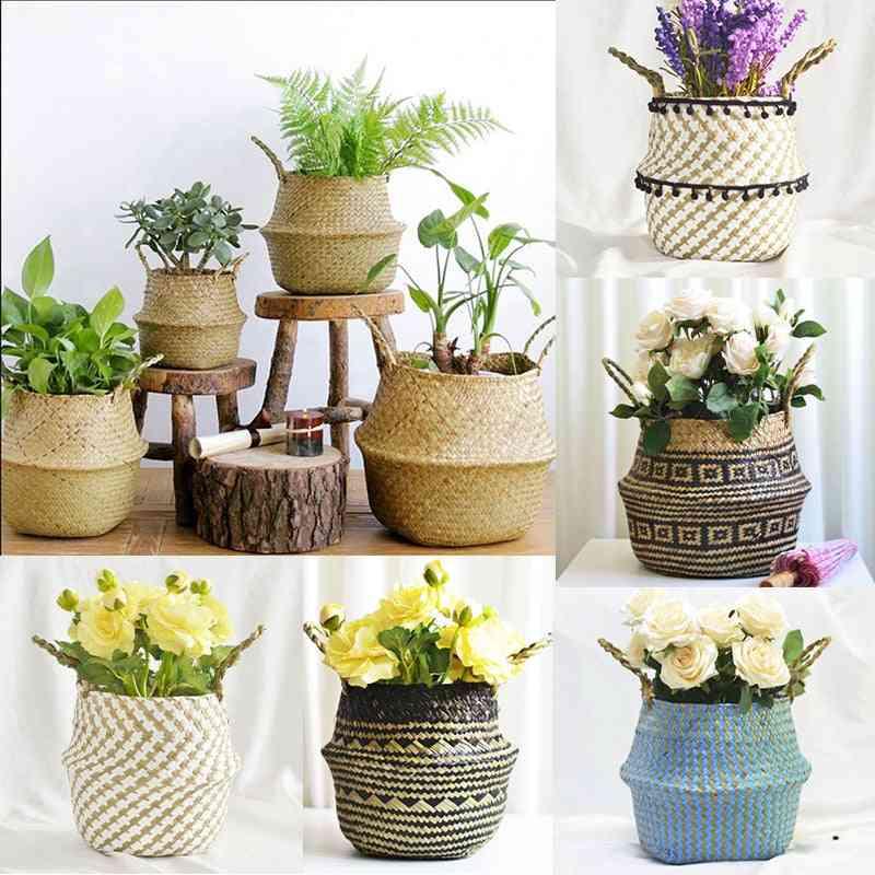 Handmade Foldable Laundry Straw Wicker - Rattan Seagrass Belly Garden Flower Pot