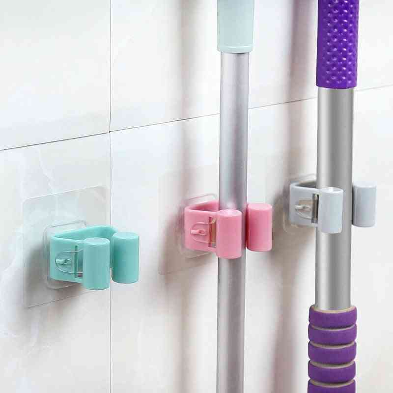 Non-slip Waterproof Trace Less Bathroom Shower Mop Hook Holder, Cleaning Tools