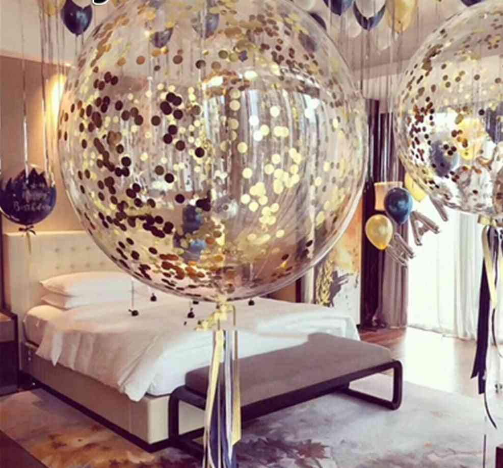 18inch - Inflatable Clear Latex Balloons For Wedding, Birthday Party Decoration