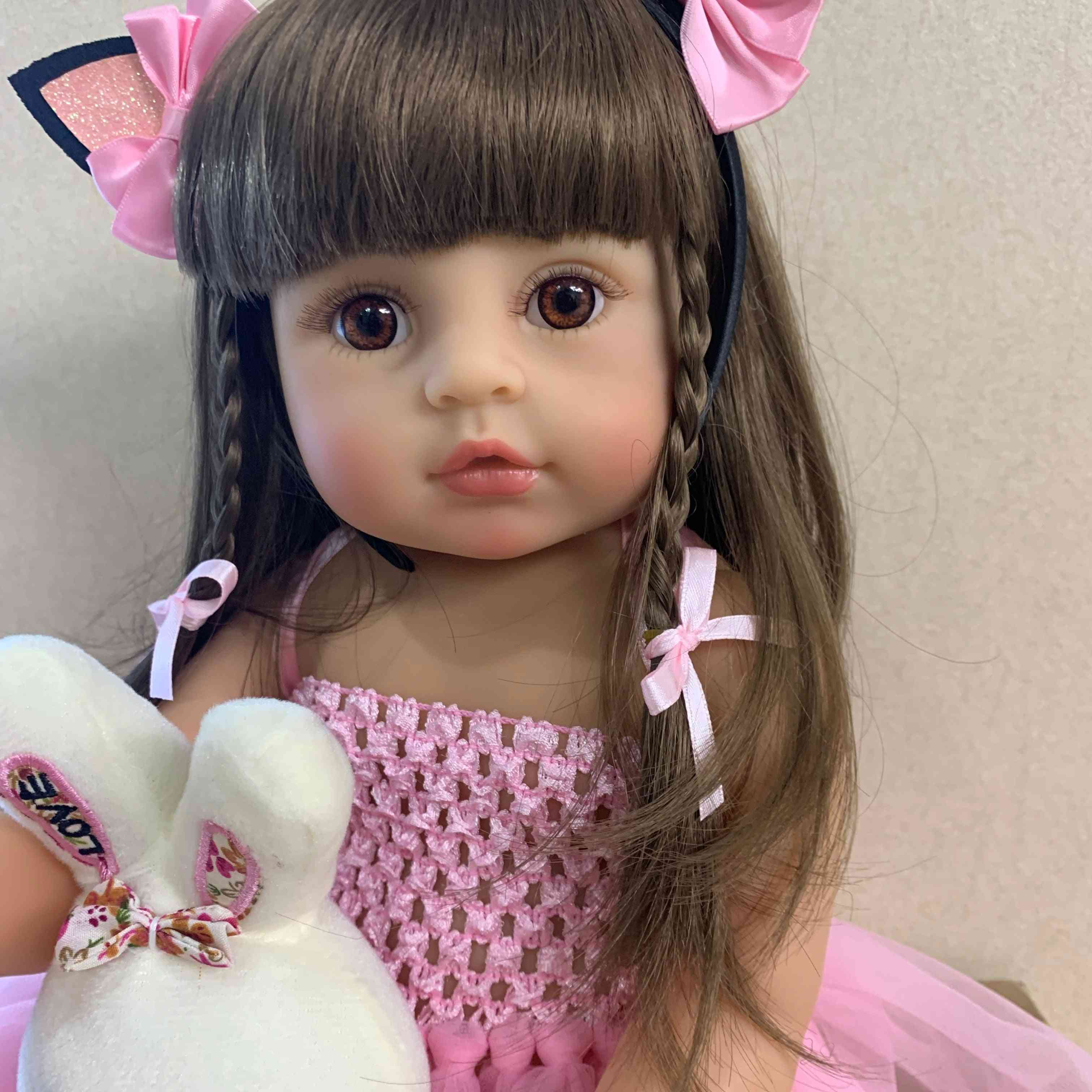 55cm Real Size Original Silicone Girl Doll - Toddler Girl , Pink Princess Bath Toy