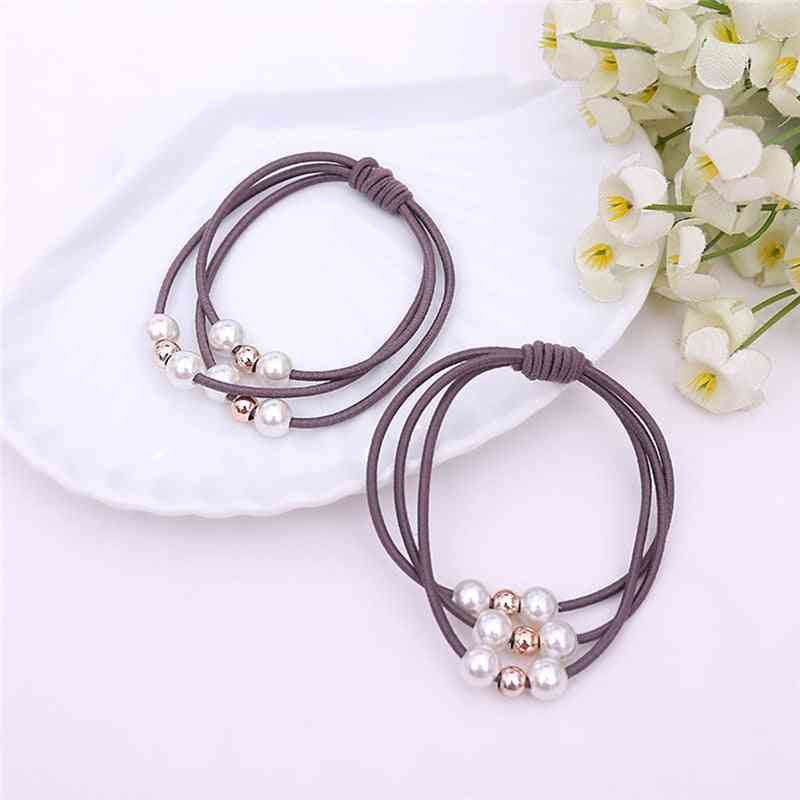 Multi Layer Pearl Hair Rope, Solid Color Elasticity Durable Practical