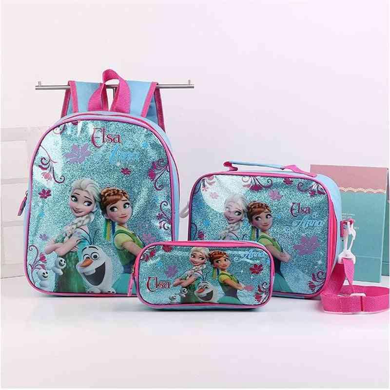 3pcs Princess Disney - Shoulder Backpack Bag , Pencil Cartoon Case , Frozen Handbag Girl / Boy Bag For School
