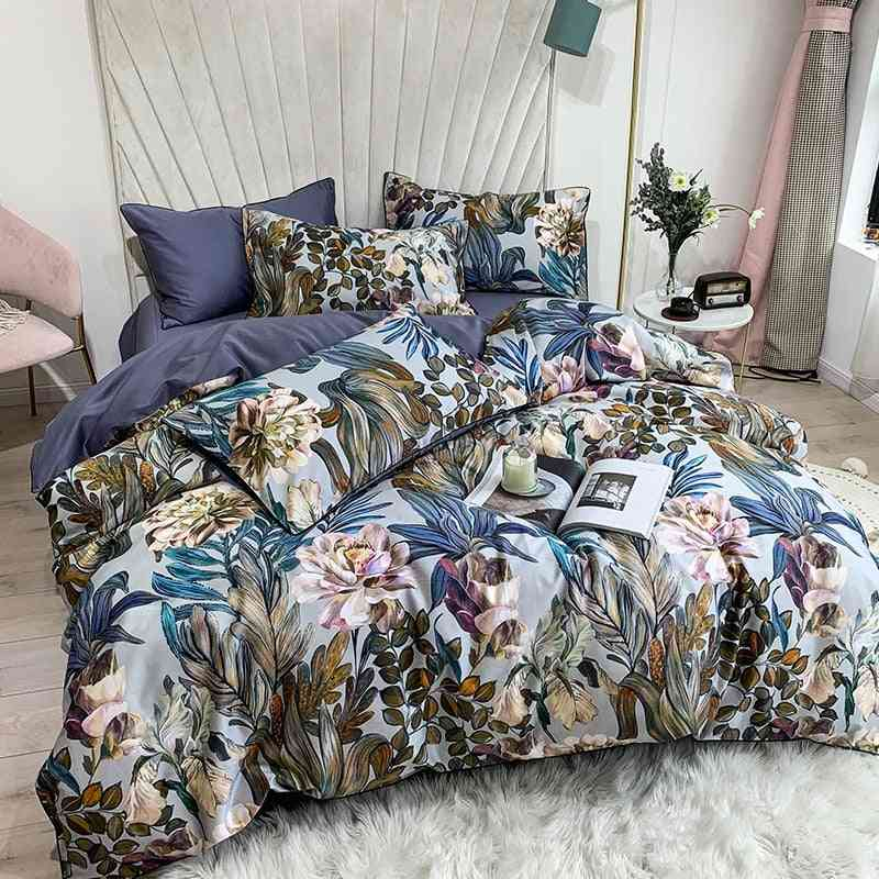 Pure Egyptian Cotton Tropical Leaves Flowers Print King And Queen Size Bedding Set