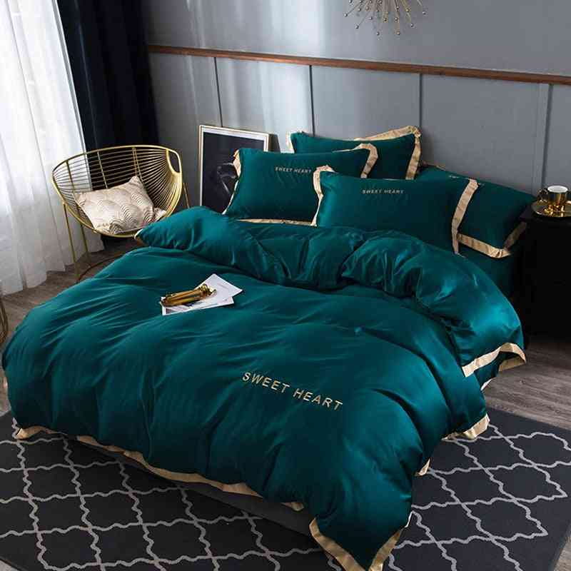 Modern Luxury Solid Color Flat Bed Sheet Brief Duvet Cover Set