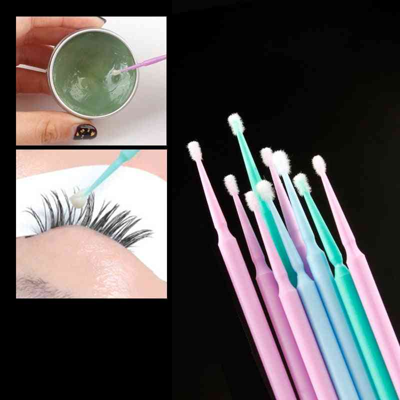 Disposable Cotton Swabs - Eyelash Brushes Cleaning  Extension Remover Tool Kit
