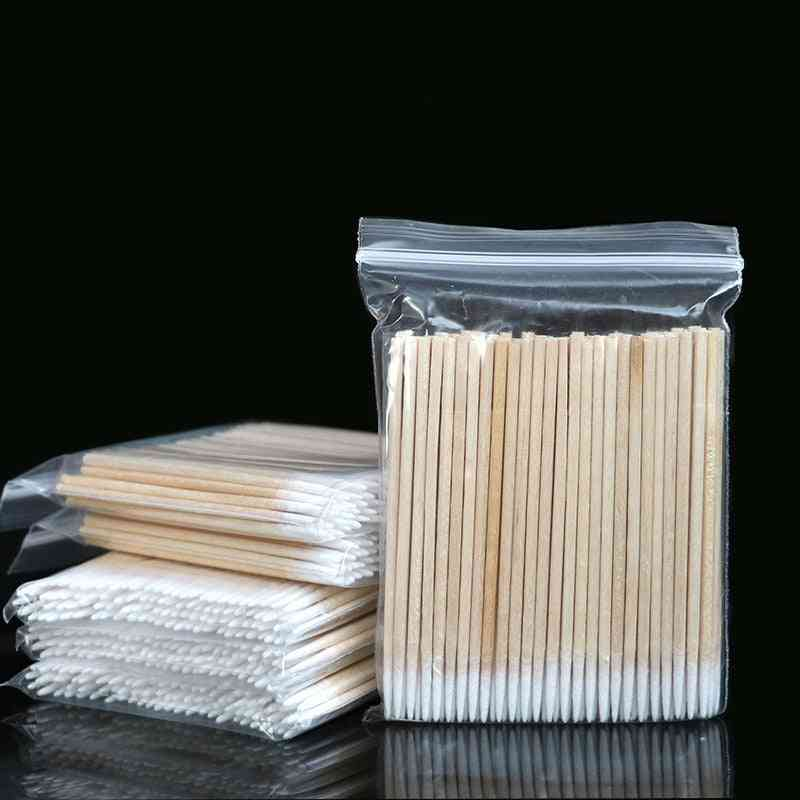 Cotton Buds Swabs - Wooden Handle Used For Tattoo Makeup Microblade