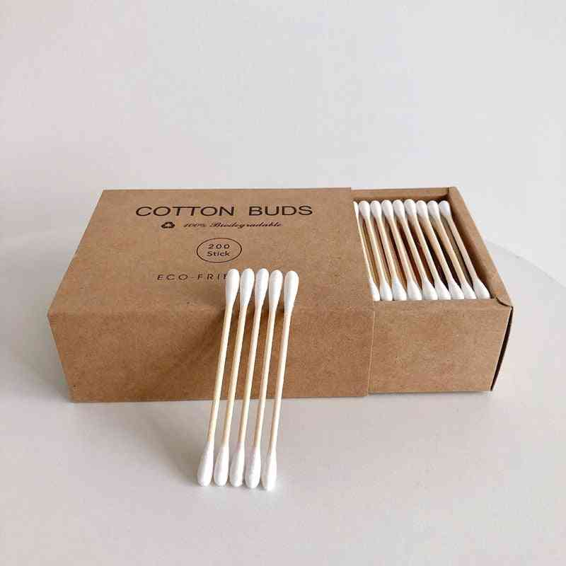 100/200pc Double Head Cotton Swab , Bamboo Cotton Swab - Wood Sticks Disposable Buds Cotton For Beauty Makeup