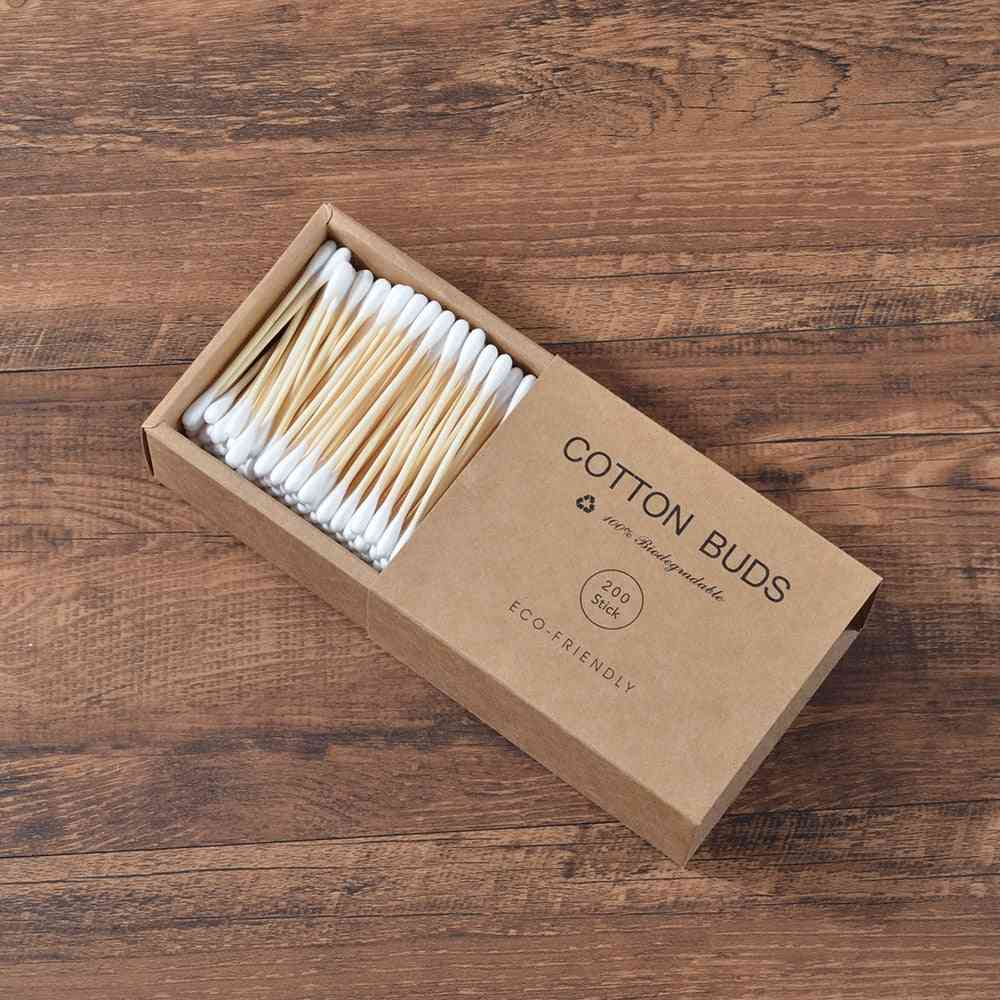 Double Head Bamboo Cotton Buds / Swab For Nose And Ears Cleaning