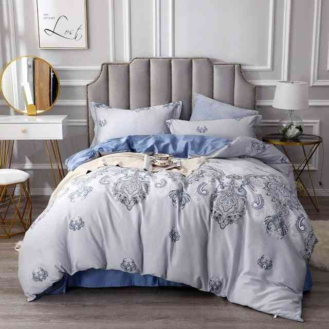 Silky Egyptian Cotton Chinoiserie Style Birds Flowers King And Queen Size Bedding Set