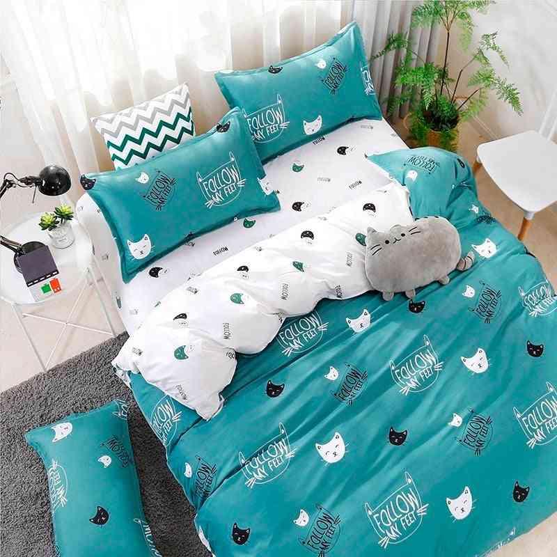 Modern Home Decor Polyester Cartoon Print Bedding Set