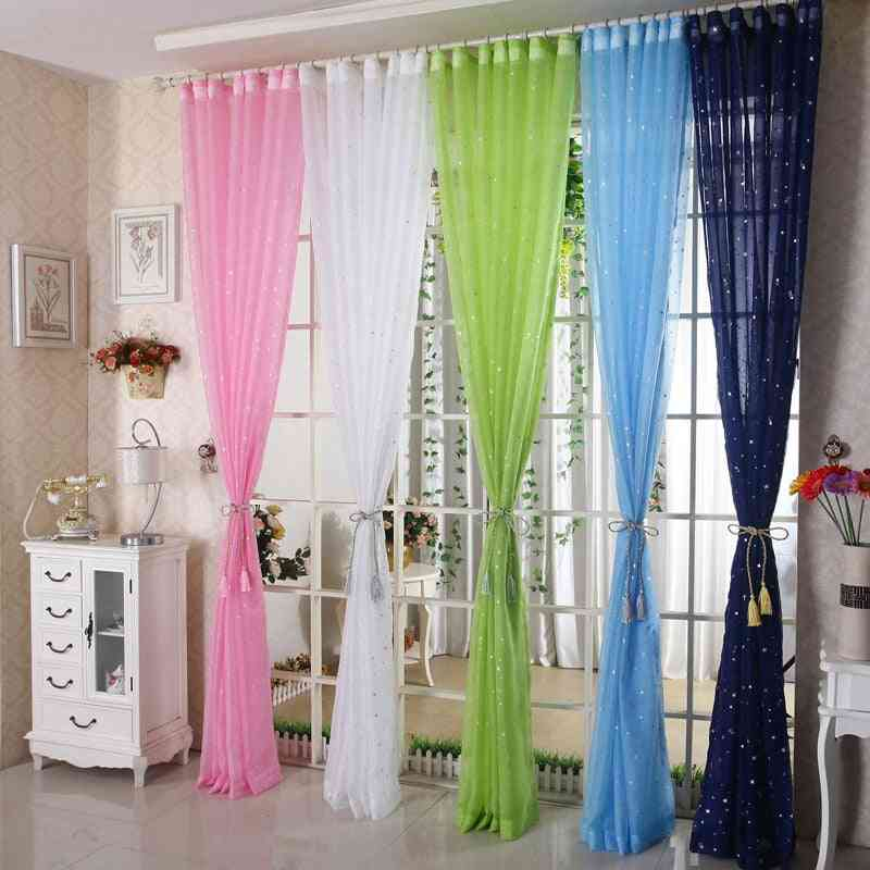 Modern White Star Transparent Tulle Home Decoration Curtain