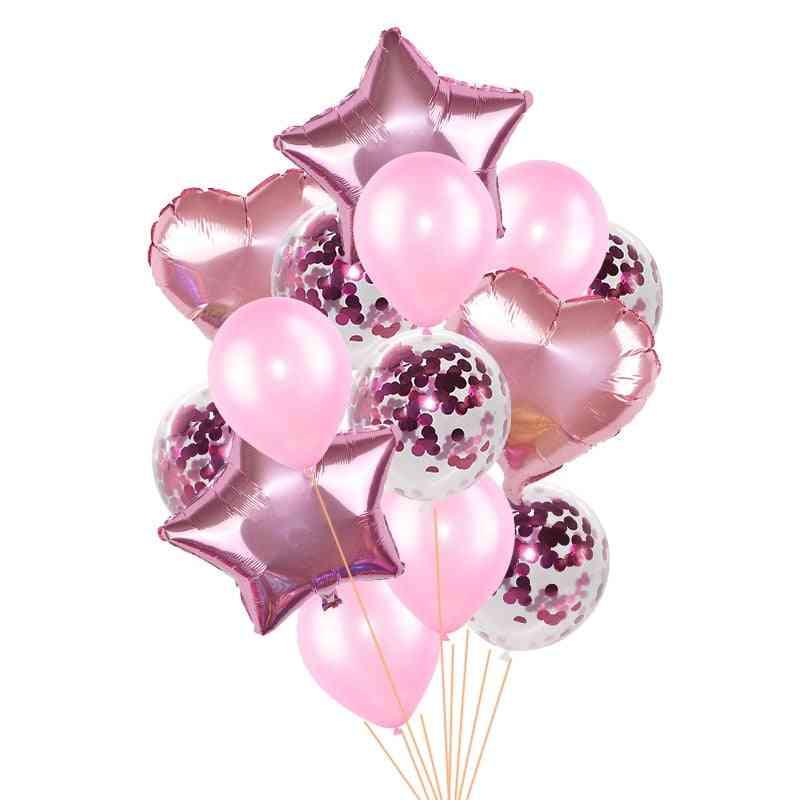 Heart Star Foil Confetti Latex Balloons - Party Decor Accessories